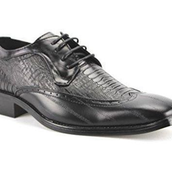 New Men's W2015-1 Faux Crocodile Wing Tip Oxford Shoes