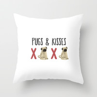 Pugs & Kisses Throw Pillow by BaconFactory
