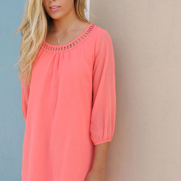 Downtown Coral Quarter Sleeve Chiffon Cut Out Neck Shift Dress