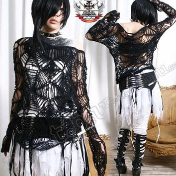BLACK WIDOW Spiderweb Gothic Punk Cobweb Mohair Sweater