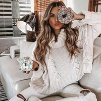 Turtleneck Crop Sweater Long Sleeve Thick Solid Oversized Pullover