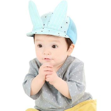 PEAP78W Cute Baby Girls Boys Toddler Infant Mesh Hat Lovely Rabbit Ear Sun Cap Summer Fashion Sun Beach Dot Hat