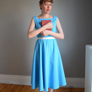 NEW. The Belle Jumper Dress. Disney Day Dress Collection. Blue & White. 1950s Vintage Inspired. XS - XL. Petite. Tall.