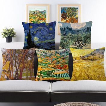 Fall Style Painting Cushion Covers For Sofa Home Decorative Throw Pillow Covers Car Seat Fundas Cojines Almofadas Housse Coussin