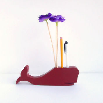 Vintage Whale Pencil Holder Red Wooden Home Decor by ItchforKitsch
