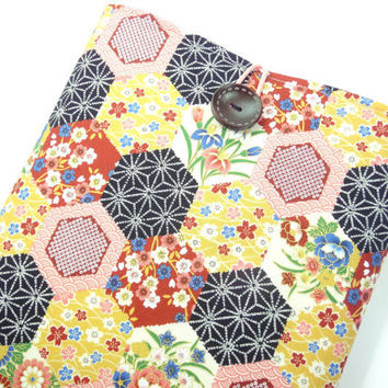 Pretty Macbook 11 Sleeves, Unique Gift For Her, Handmade Laptop Covers, Japanese Kimono Cotton Fabric Hexagon Flowers Pink