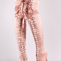 Liliana Satin Peep Toe Lace Up Over-The-Knee Boots