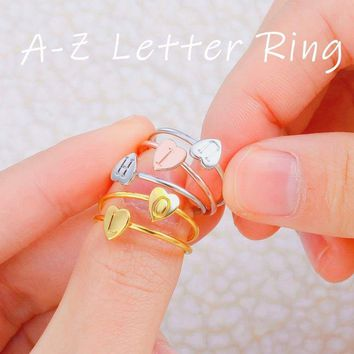 Fashion Gold Silver Color Heart  Custom Letters Rings For Women DIY Name Ring Set Female Statement Engagement Jewelry Size 8