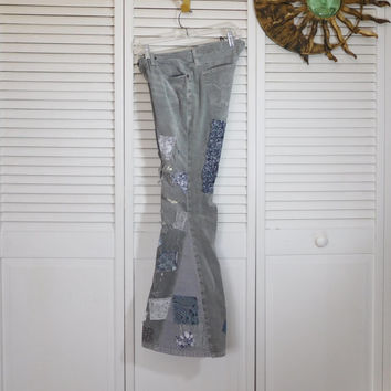 Bell Bottom Jeans Grey Corduroy Pants Patched Rip Hippie Clothes Ditty Jeans Size 5/6 Upcycle Vintage Repaired Boho Hidden Stash Pocket