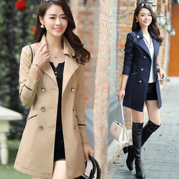 Modern Solid Color Double-Breasted Coat