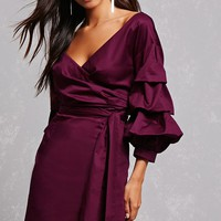 Puff-Sleeve Bardot Dress