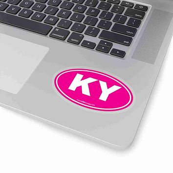 Kentucky KY Euro Oval Sticker PINK