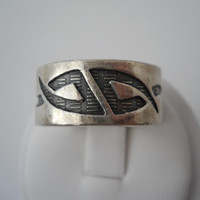 Etched Tribal Designs Wide Band Ring Sterling Silver 925 Thumb Ring Size 10.5-11