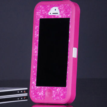 Pink iPhone 5 Otterbox Custom Defender Case - Pink/Hot Pink Glitter Otterbox iPhone 5 Case - Sparkly Glitter Bling iPhone 5 Cover