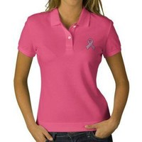Pink Ribbon - Breast Cancer Awareness Embroidered Polo Shirt from Zazzle.com