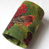 Wrist Wallet, Zippered Wrap Cuff, Hands-free, Secure, House Finch and Grapes