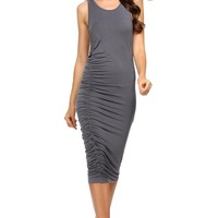 2017 New  Sleeveless Solid Ruched Maxi Bodycon Dress