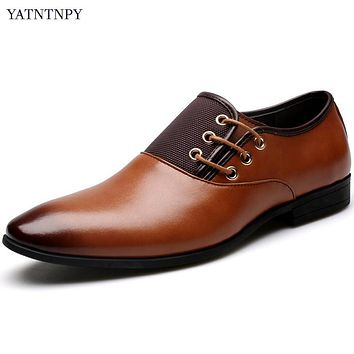 YATNTNPY New Fashion Men Wedding Dress Shoes Big Size 6.5-12 Man Black Shoes Warm Flat Business British Lace-up Men's shoes
