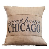 Sweet Home Chicago Burlap Pillow Wrap