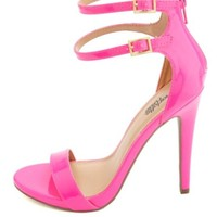 Double Ankle Strap Patent Single Sole Heels