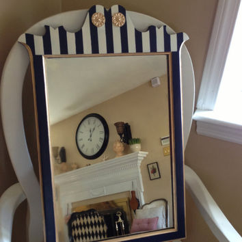 Antique Mirror Hand Painted Navy Cream Gold Striped