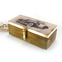 Box with retro car,Wooden, 3 Compartment , gift for him, rustic wooden box