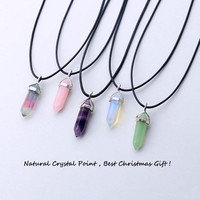 5 design natural green aventurine opal quartz crystal pendant black leather hexagon pendant chrysocolla choker necklace jewelry + gift box