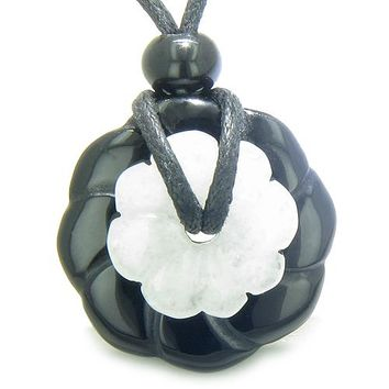 Double Lucky Amulet Ying Yang Magic Flowers Donuts Onyx Jade Spiritual Good Luck Pendant Necklace