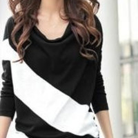 FS182 spring women's batwing shirt Women color block decoration fashion clothes plus size loose long-sleeve T-shirt = 1946815300