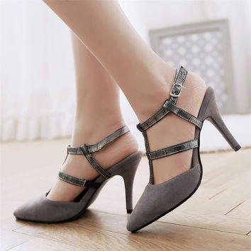 suede ankle buckle strap sandal open toe Roman shoes Sexy Shoes  fashion women pumps red bottom thin heel pumps Large size shoes