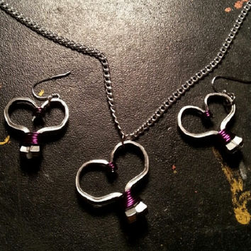 Purple wire wrapped horseshoe nail heart necklace, earrings, or necklace and earrings set jewelry