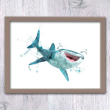 Finding Dory watercolor print Finding Dory Destiny art poster Disney Pixar art decor Pixar poster Baby shower gift Kids room wall decor V97