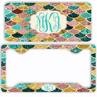 Pink Gold Teal Mermaid License Plate Car Tag Monogram Frame Personalized Set Custom Initials NOT ACTUAL GLITTER Mermaid Scales