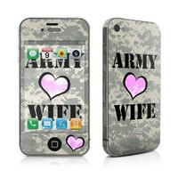 Army Wife Design Protective Decal Skin Sticker (Matte Satin Coating) for Apple iPhone 4 / 4S 16GB 32GB 64GB