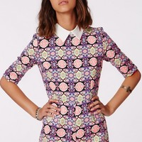 Missguided - Stevie Collared Neon Baroque Playsuit