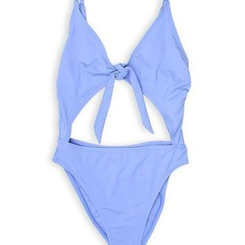 Sayulita One Piece Tie Front Swimsuit - Periwinkle