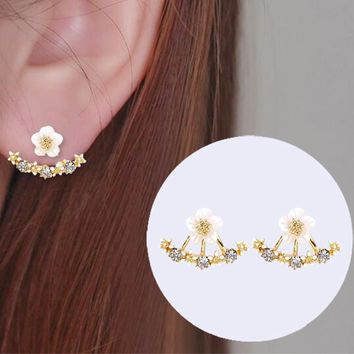 Yiustar New Gold Cherry Earrings Crystal Stud Earrings For Women Several Peach Jewelry Accessories Gift For Party Wedding ED129