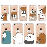 Cute Cartoon Animation Phone Case For iphone X 7/8 plus 6plus 5s We Bare Bears Grizzly & Panda & Ice Bear Thicken Soft TPU Cover