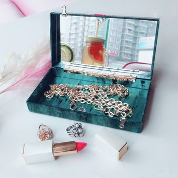 Sea Green Glitter Acrylic Box Clutch with Mirror
