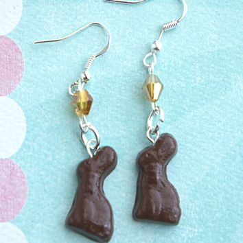 chocolate bunny dangle earrings
