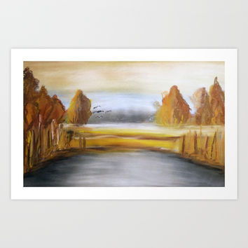 autumn by the lake Art Print by AidaArt