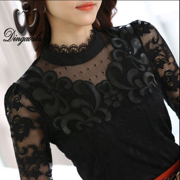 2016 Autumn new Korean Slim elegant female long sleeve lace tops mesh hollow out stitching lace blouse shirt