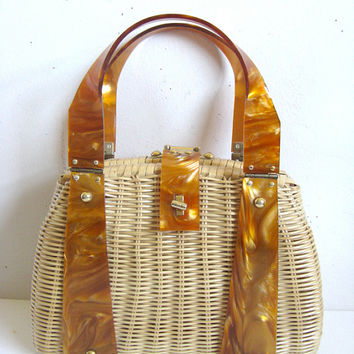 Vintage 1960s Wicker Purse Natural Wicker Caramel Acrylic Handbag
