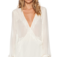 Haute Hippie Lace & Chiffon Tie Front Blouse in Cream
