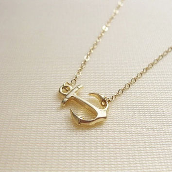 Sideways anchor 14K gold filled necklace must have by Lookatmeshop