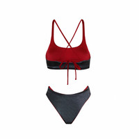Brazilian Cut Red & Steel Grey Bikini Set With Adjustable Shoulder Straps