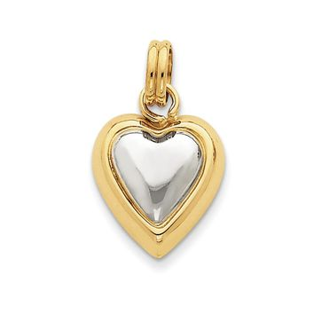 14k Yellow Gold and White Rhodium Puffed Heart Charm or Pendant, 17mm