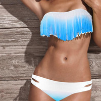 Blue and White Tassel Bikini Swimsuit Set