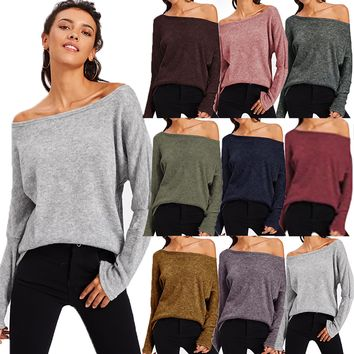 Women Off Shoulder Casual Long Sleeve Top T-Shirt Blouse Jumper Pullover Sweater
