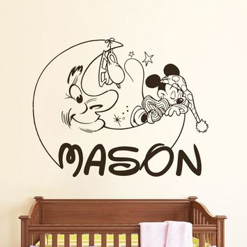 Personalized Mickey Mouse Decals Boy Name Wall Decal Nursery Room Decor free shipping Wall decoration Poster Wall stickers M944